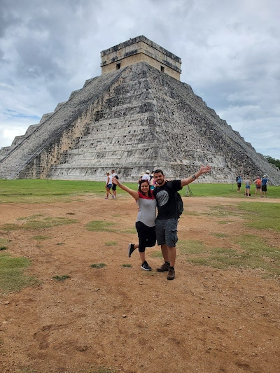 Halier at Mayan pyramid in Cancun